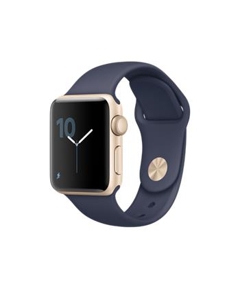 Apple Watch Series 2, 38mm Gold Aluminium Case with Midnight Blue Sport Band
